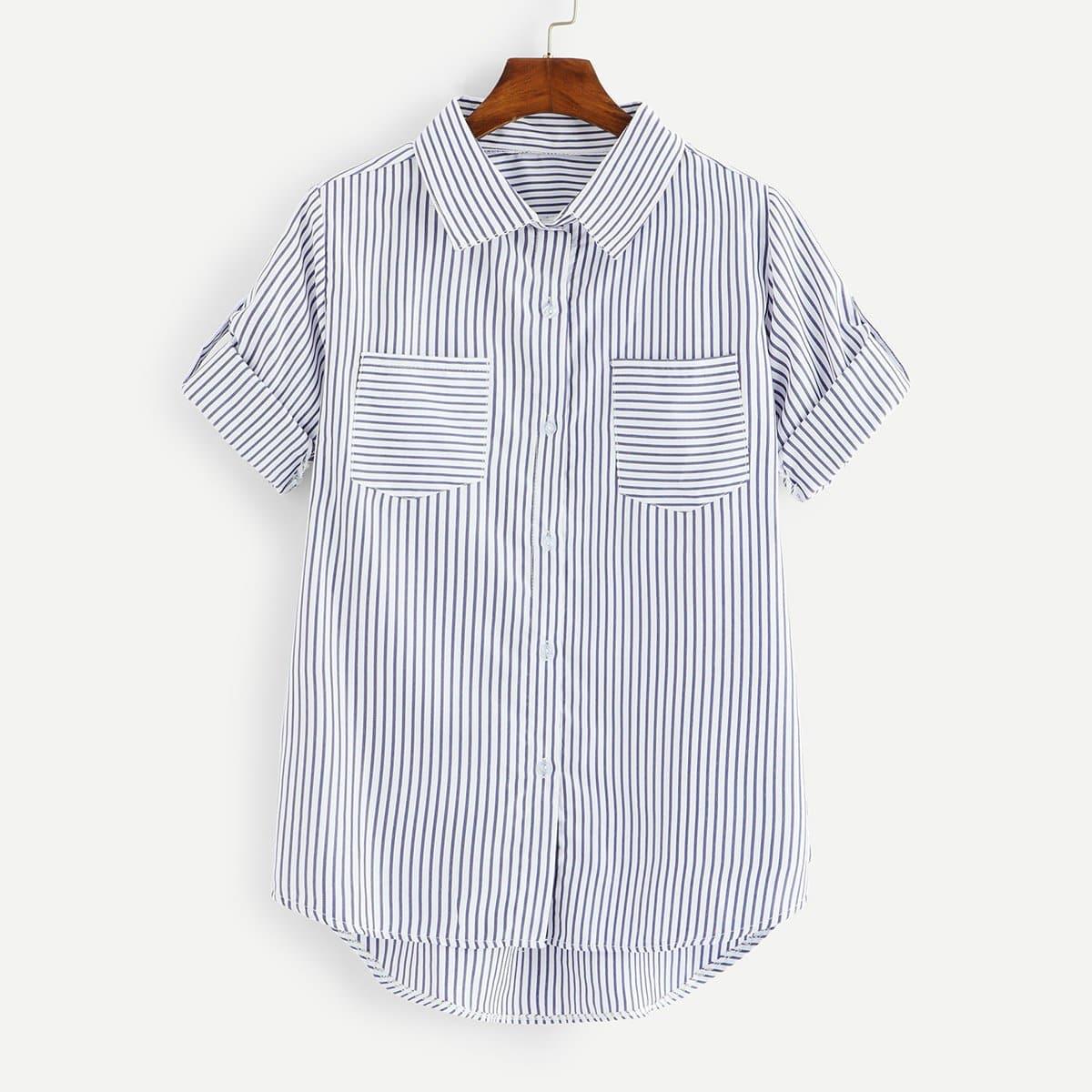 Полосатая блуза с карманами