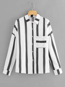 Pocket Decoration Striped Blouse