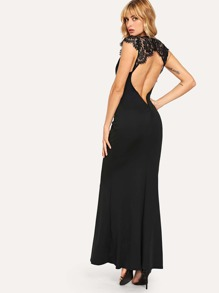 Contrast Lace Backless Dress