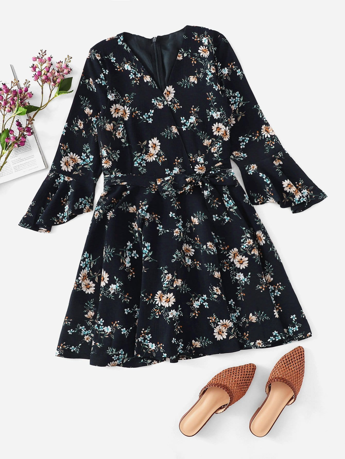 2ce4d0b3fd0516 Self Tie Waist Floral Print Dress EmmaCloth-Women Fast Fashion ...
