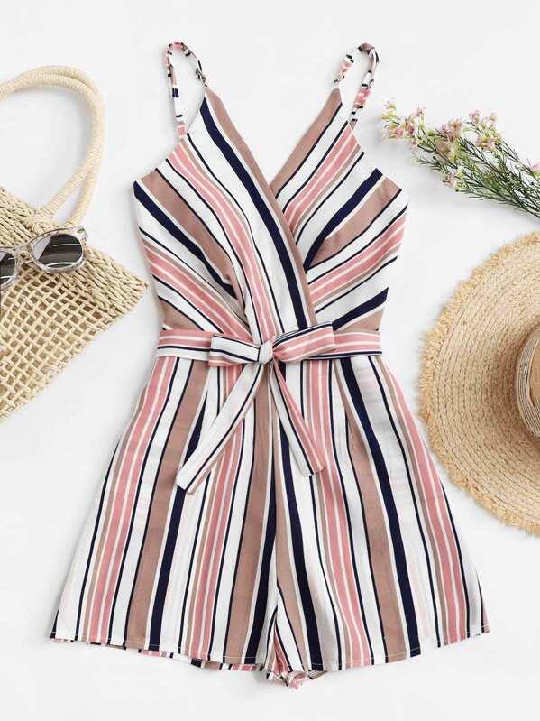 f1a9713cbbb1 Cheap Plus Multi-Stripe Tie Waist Cami Jumpsuit for sale Australia ...