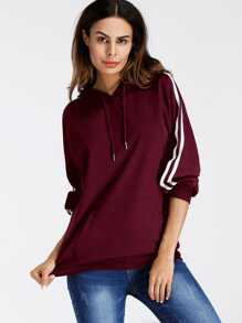 Varsity-Striped Hooded Sweatshirts