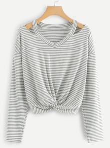 Twist Front Striped Tee