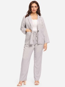 Plus Solid Blazer With Knot Waist Pants