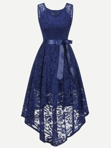 Ribbon Tie Detail Lace Overlay Dip Hem Dress