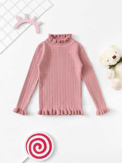 57e131d446e42 Fille Pull unicolore découpé plissé en tricot côtelé