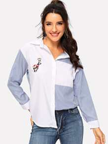 Stripe Contrast Horse Embroidered Shirt