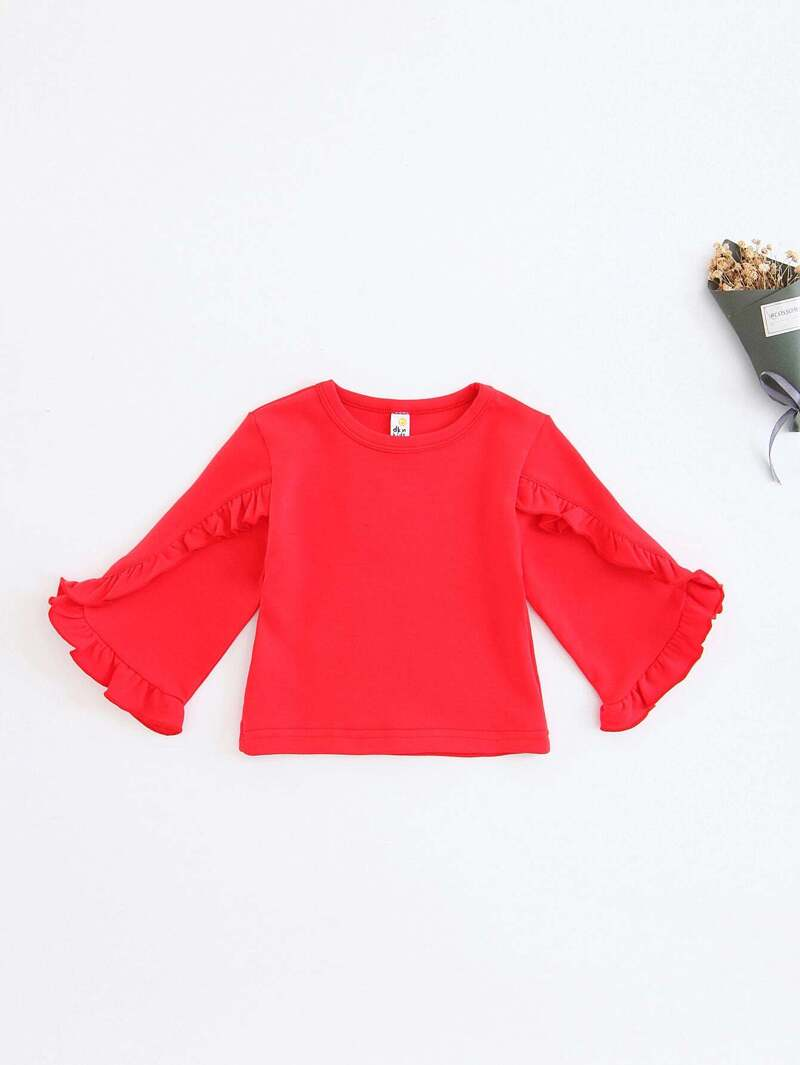 Girls Frill Trim Solid Tee, Red