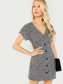 Button Up Front Tweed Dress