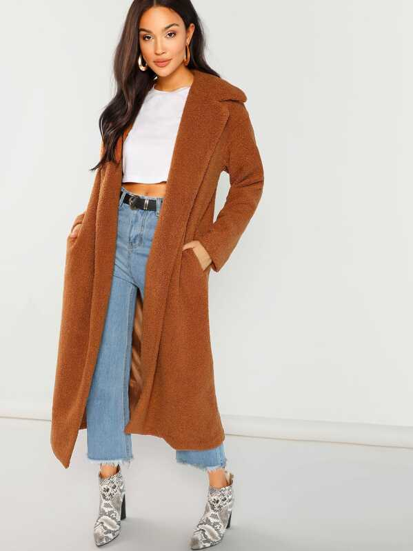 6837b457f6 Solid Longline Faux Fur Teddy Coat | SHEIN UK