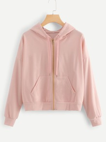 Drawstring Detail Solid Hooded Jacket