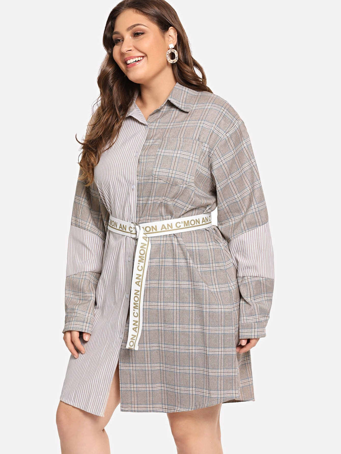 grande taille robe carreaux contrast e avec ceinture french shein sheinside. Black Bedroom Furniture Sets. Home Design Ideas