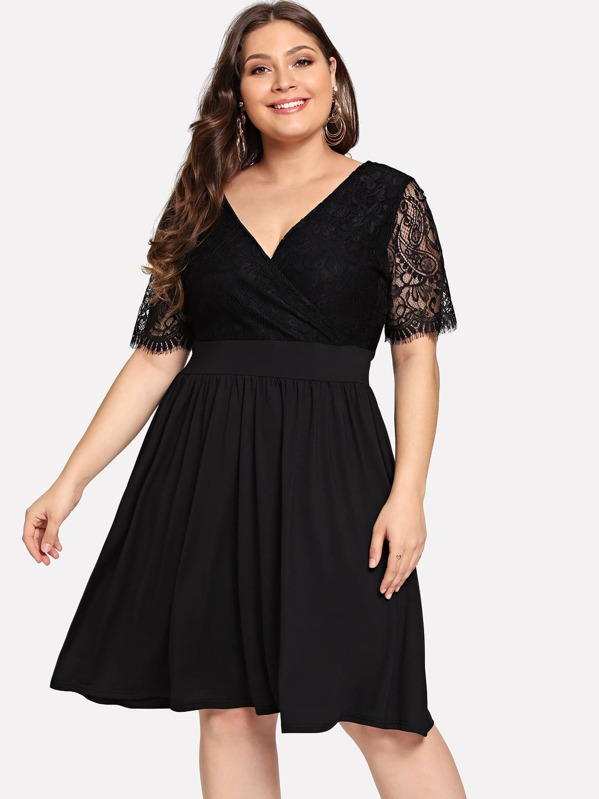 f4c675902c Plus Contrast Lace V Neck Dress | SHEIN
