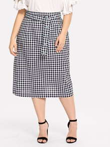 Plus Plaid Skirt With Belt