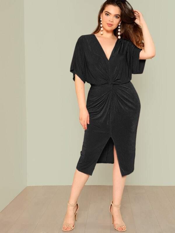 Plus Twist Front Slit Batwing Dress