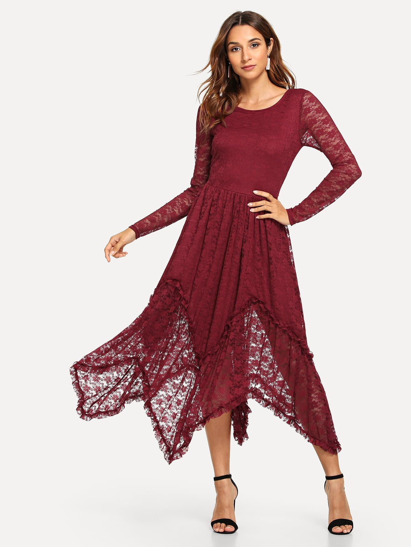 e436cdc620 Lace Detail Long Sleeve Dress EmmaCloth-Women Fast Fashion Online