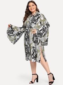 Plus Tie Neck Bell Sleeve Dress