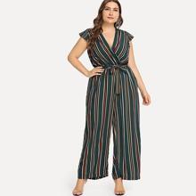 SHEIN   Plus Waist Belted Wrap Wide Leg Striped Jumpsuit   Goxip