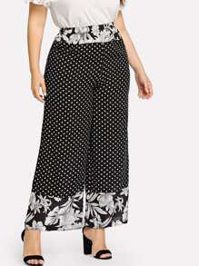 Plus Dot And Flower Print Wide Leg Pants