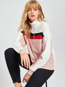 Half Placket Color-Block Sweatshirt