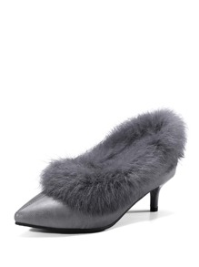 Faux Fur Decor Pointed Toe Heels