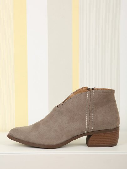 0b4314a9cea3 Pointed Toe Faux Suede Booties