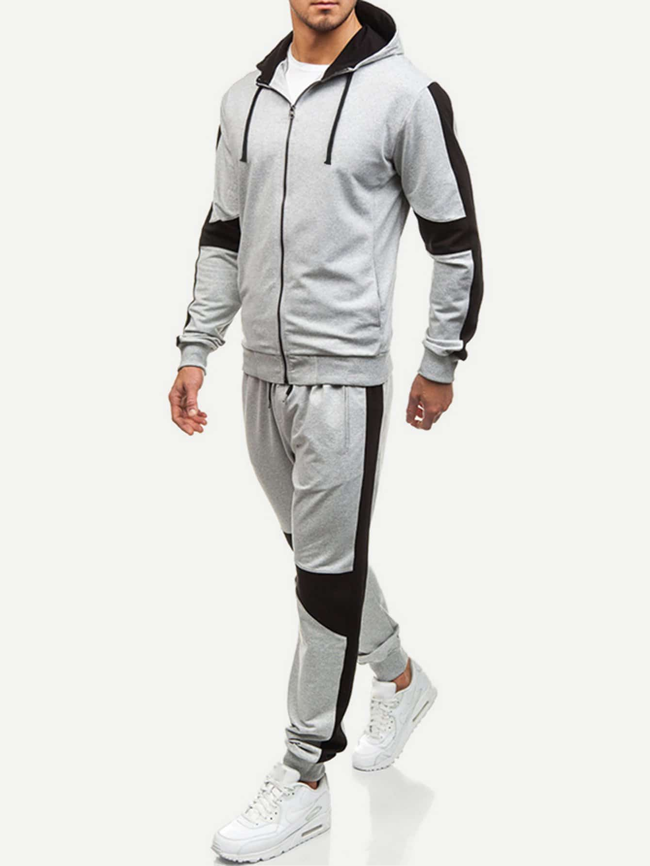 Men Cut And Sew Panel Hooded Sweatshirt With Drawstring Pants Men Cut And Sew Panel Hooded Sweatshirt With Drawstring Pants