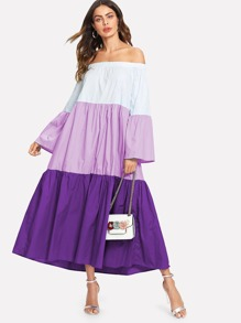 Color Block Off Shoulder Dress