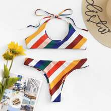 INOpets.com Anything for Pets Parents & Their Pets Striped Self Tie Bikini Set