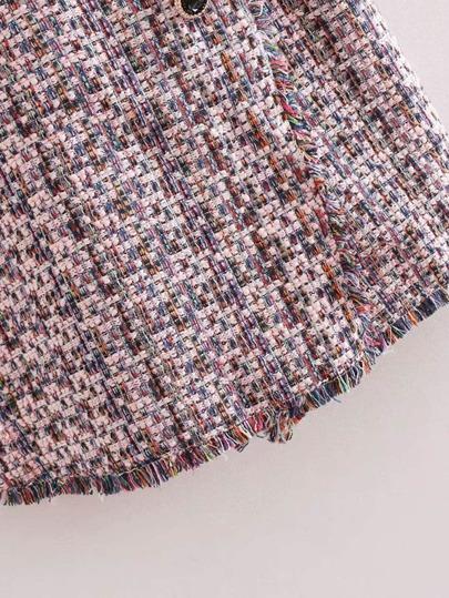 bdf7d8ad6 Chain Detail Fringe Trim Tweed Romper