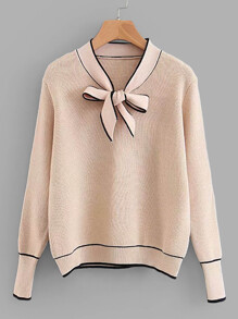 Contrast Binding Tie Neck Jumper