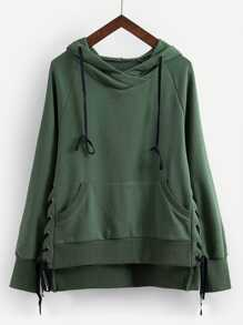 Lace-Up Side High Low Hoodie