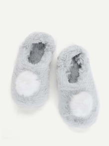 Contrast Pom Pom Fluffy Slippers