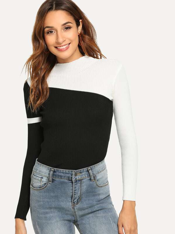 Color Block Sweater by Sheinside