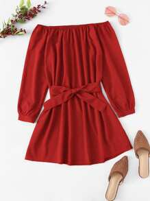 Off Shoulder Self Tie Waist Dress