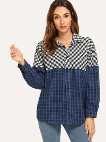 Curved Hem Contrast Plaid Blouse