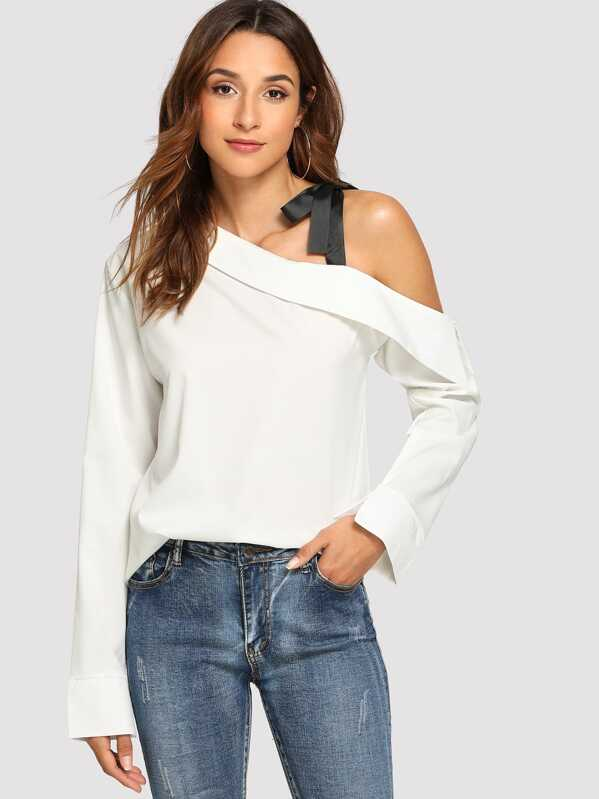 67d97cab0f7 Ribbon Tie One Shoulder Fold Blouse | SHEIN