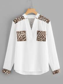 Leopard Panel V Neck Blouse