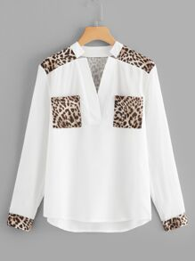 Leopard Panel Curved Hem Pocket Blouse