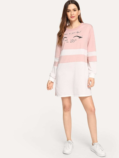 Letter Graphic Colorblock Sweatshirt Dress