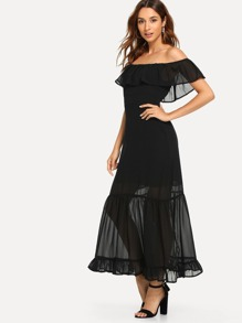 Ruffle Trim Off The Shoulder Solid Dress