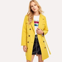 Double Button Belted Solid Outerwear