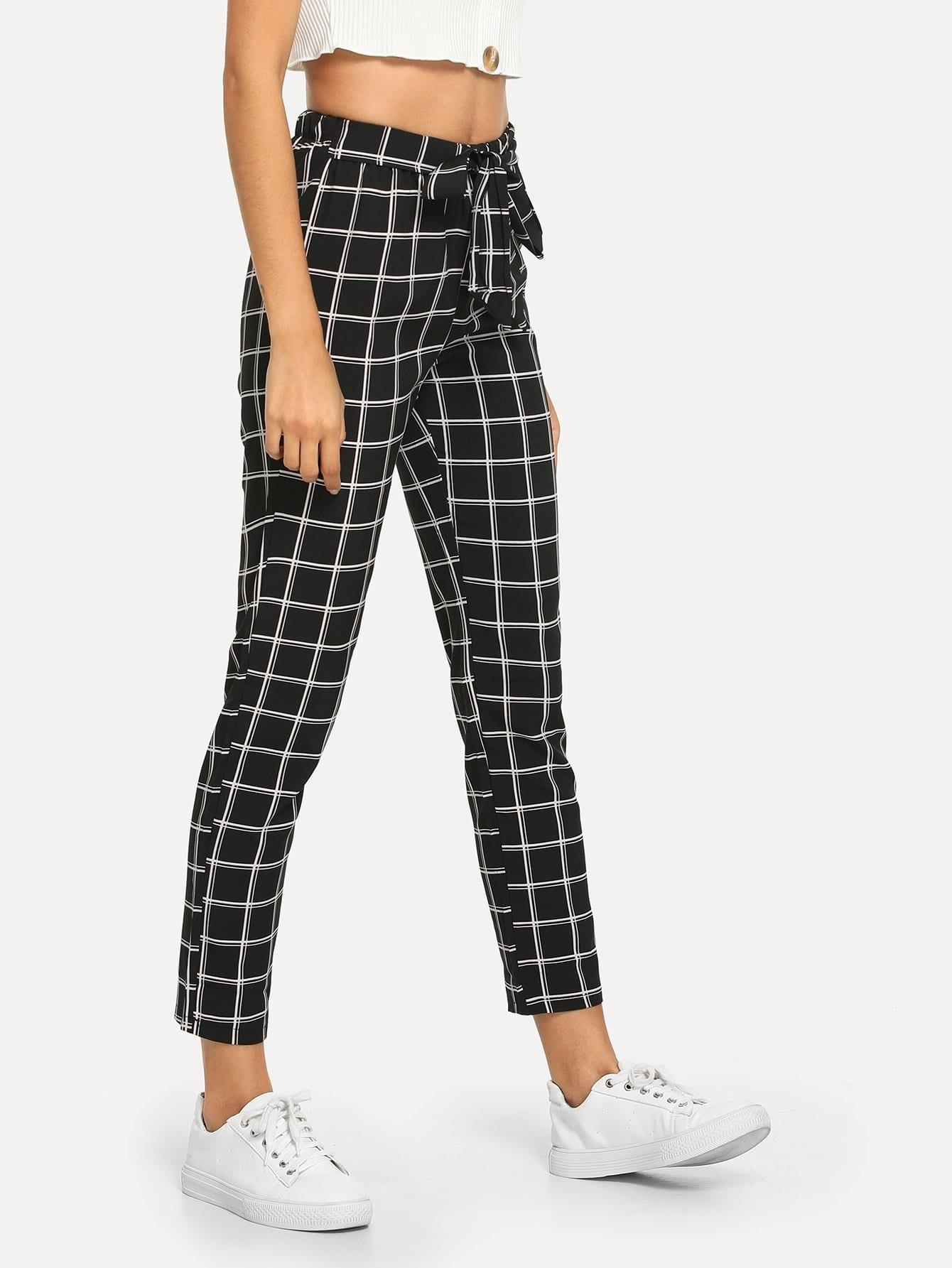 pantalon carreaux avec n ud french shein sheinside. Black Bedroom Furniture Sets. Home Design Ideas