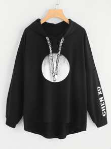 Plus Letter Graphic Hooded Sweatshirt
