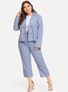 Plus Single Breasted Striped Blazer With Pants