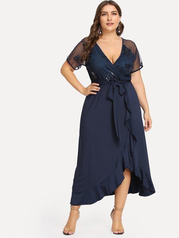 Plus Sequin Mesh Bodice Ruffle Wrap Dress | SHEIN