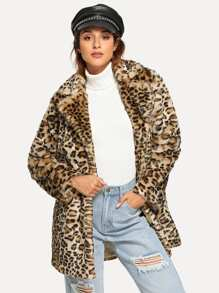 Notch Collar Leopard Faux Fur Coat
