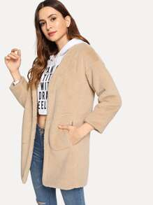 Slant Pocket Soft Faux Fur Teddy Coat