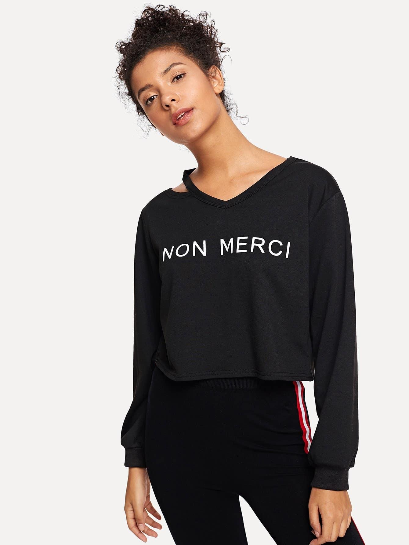 Pullover mit buchstaben muster und cutout ausschnitt shein for Mobel 9 buchstaben