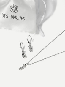 Deer Charm Rhinestone Necklace & Drop Earrings